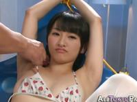 Tied up asian toyed hard