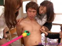 Asian milf teacher trio dominate teen student