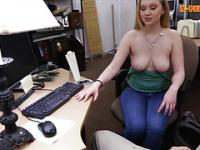 Hot amateur blonde gets banged by pawn man in the backroom