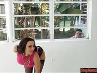Dude sneaking on big boobs MILF Rachel Starr from the window