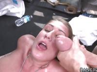 Busty slut facialized