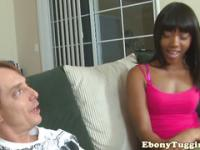 Gorgeous blackgirl tugging white meat at home