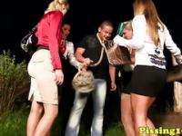 Pissfetish skanks loving outdoor group bang