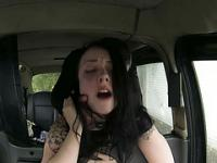 Black haired bitch gets a free ride on a drivers cab