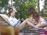 Kassandra Raine in bikini top outdoor sex with handsome guy