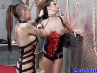 Busty latex lezdom action with gothic sluts