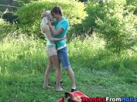 Teen sucks cock outdoors
