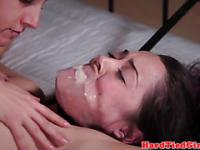 Restrained slut is being heavely whipped