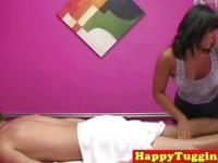 Busty asian handjob masseuse tugs her client