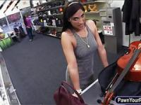 Sexy amateur babe sells her Cello and fucked at the pawnshop