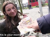Lovely chick Julie Skyhigh is spotted by dude in public and offers her quick bj for cash