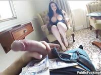 British brunette Sophia fucks a tourist