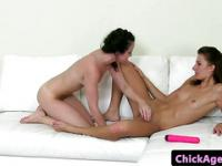 Auditioning lesbians toy play on couch