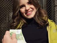 Russian Cutie Anna flashes her tits for a couple of bucks