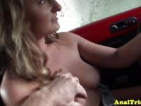 Anal loving flasher with natural tits