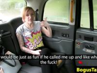 Tattooed amateur eurobabe gives head in back of cab