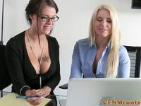 Femdom cfnm beauties facialized after threeway