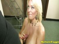 Monsterboobs milf tugging a dick in cool pov