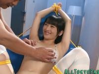 Tied asian slut licked