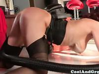 Busty squirting brunette banged at home