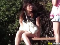 Asian slut pissin in park