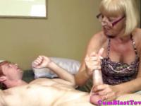 Mature tugging granny getting cum blasted