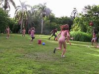 A slosh ball game made erotic as coeds gets fuck in random