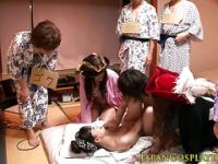 Japanese cosplay babe love orgy