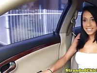 Stranded latina hottie blows her driver