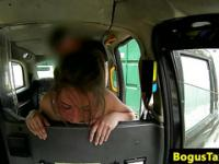 Taxi amateur facialized on backseat after sucking