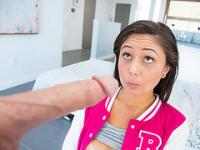 College slut Ariana Marie plays with her wet pussy and sucks enormous dick