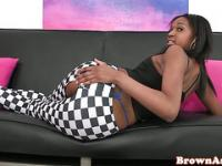 Ebony babe with booty getting fingered