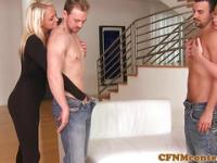 CFNM femdoms sucking hard cock together