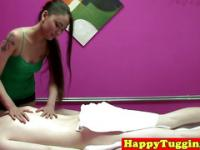 Real tattooed asian masseuse on spycam tugs client