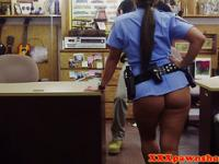 Posing bigass policewoman needing some cash