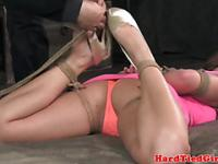 Hogtied sub gets hair bound