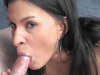Tiny Indian MILF Naomi Shah swallows a stiff cock