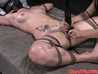 Frog tied head bondage slut toyed on bed