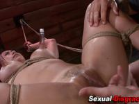 Bdsm slave gags on cock