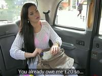 Sexy brunette chick Sasha trades sex for a free taxi fare