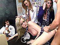 Naughty schoolgirls orgy with their prof