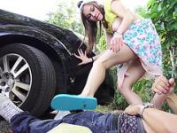 Horny hitchhikers shaved pussy gets pounded hard outdoors