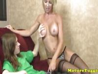 Bigtitted milf in stockings tugging stepson