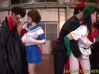 Japanese cosplay teens rimmed and licked out