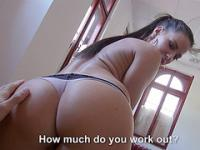 Athina gets persuaded to expose tits and have sex in exchange of cash