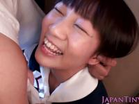 Tiny japanese schoolgirl licks nipples
