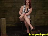 Pathetic lesbian dominated by strapon mistresses