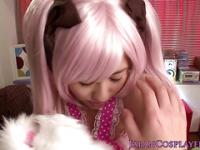 Cosplay Yuna Miyama gets cum on her tits and on her pussy