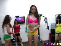 Hazed coed teens workout