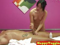 Real asian masseuse sucks and wanks client